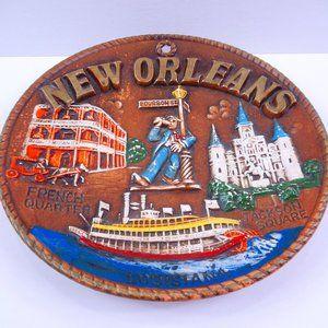 New Orleans Souvenir 3D Round Wall Plate Made Japa